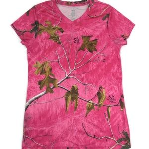 RealTree Womens Medium (8-10) Pink Camouflage tee